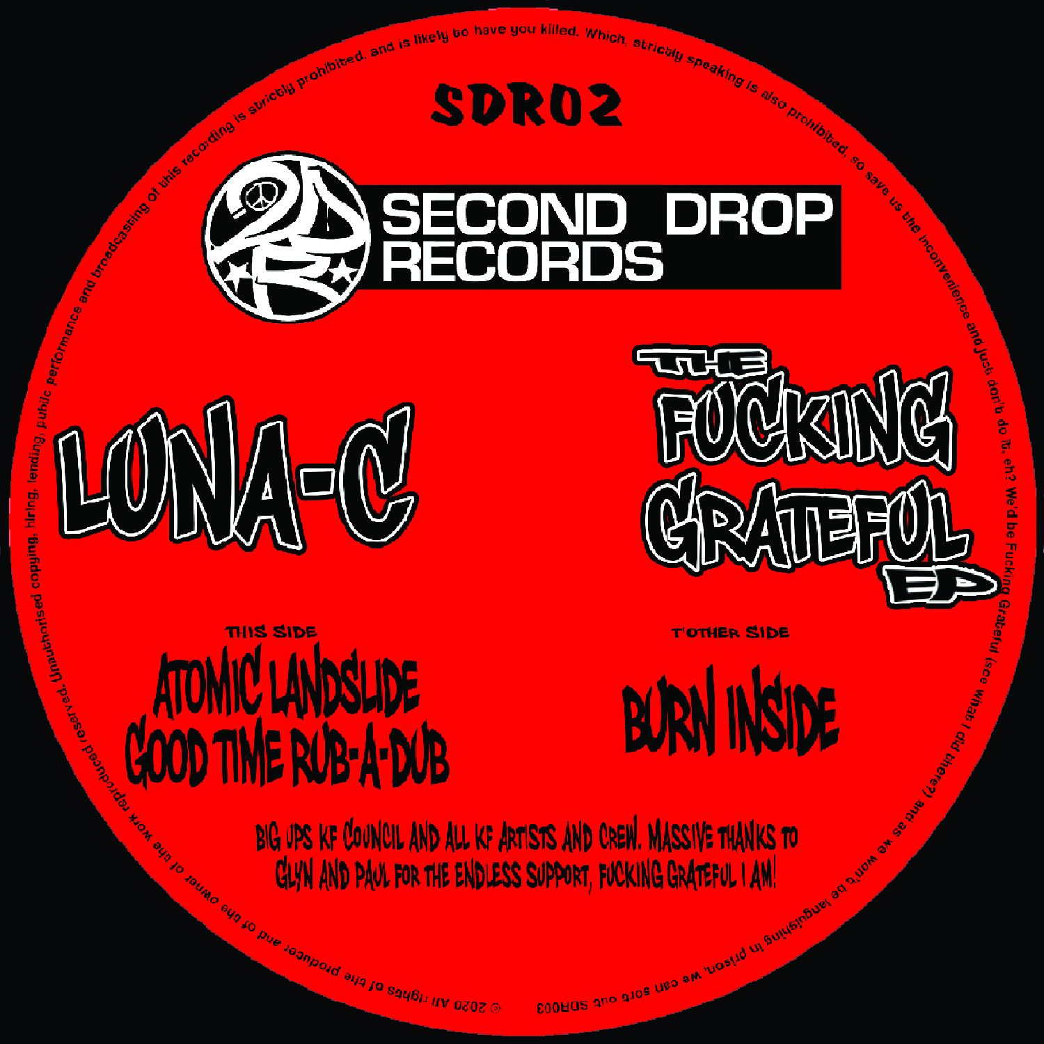 "[SDR02] Luna-C - The Fucking Grateful EP (12"" Vinyl + Digital)"