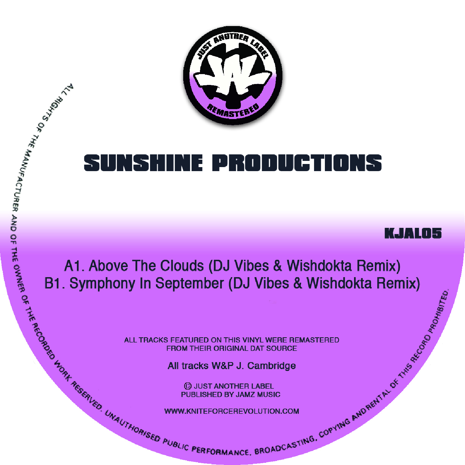"[KJAL05] Sunshine Productions - Above The Clouds (Remixes) EP (12"" Vinyl + Digital)"