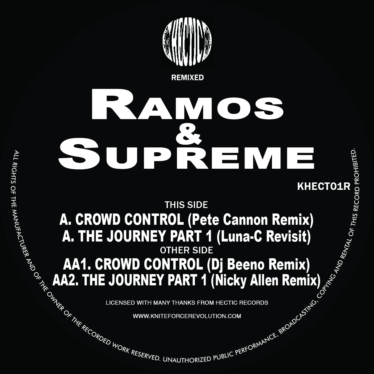 "[KHECT01R] Ramos & Supreme - The Journey / Crowd Control Remixes EP (12"" Vinyl + Digital)"