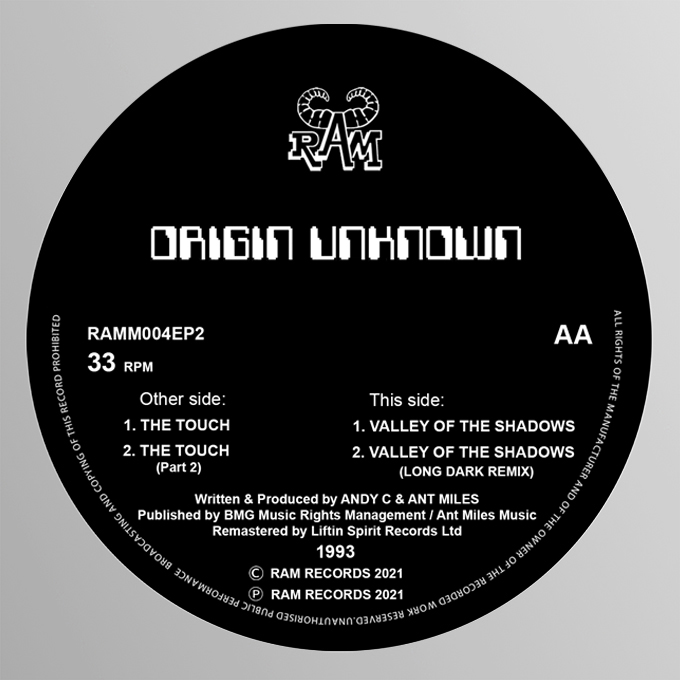"""[RAMM004] Origin Unknown - The Touch / Valley of The Shadows (12"""" Vinyl)"""