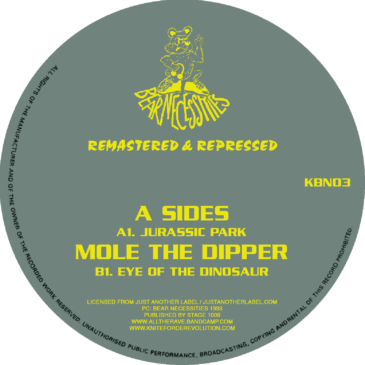 "[KBN03] A-Sides / Mole The DIpper - Jurassic Park / Eye Of The Dinosaur EP (12"" Vinyl + Digital)"