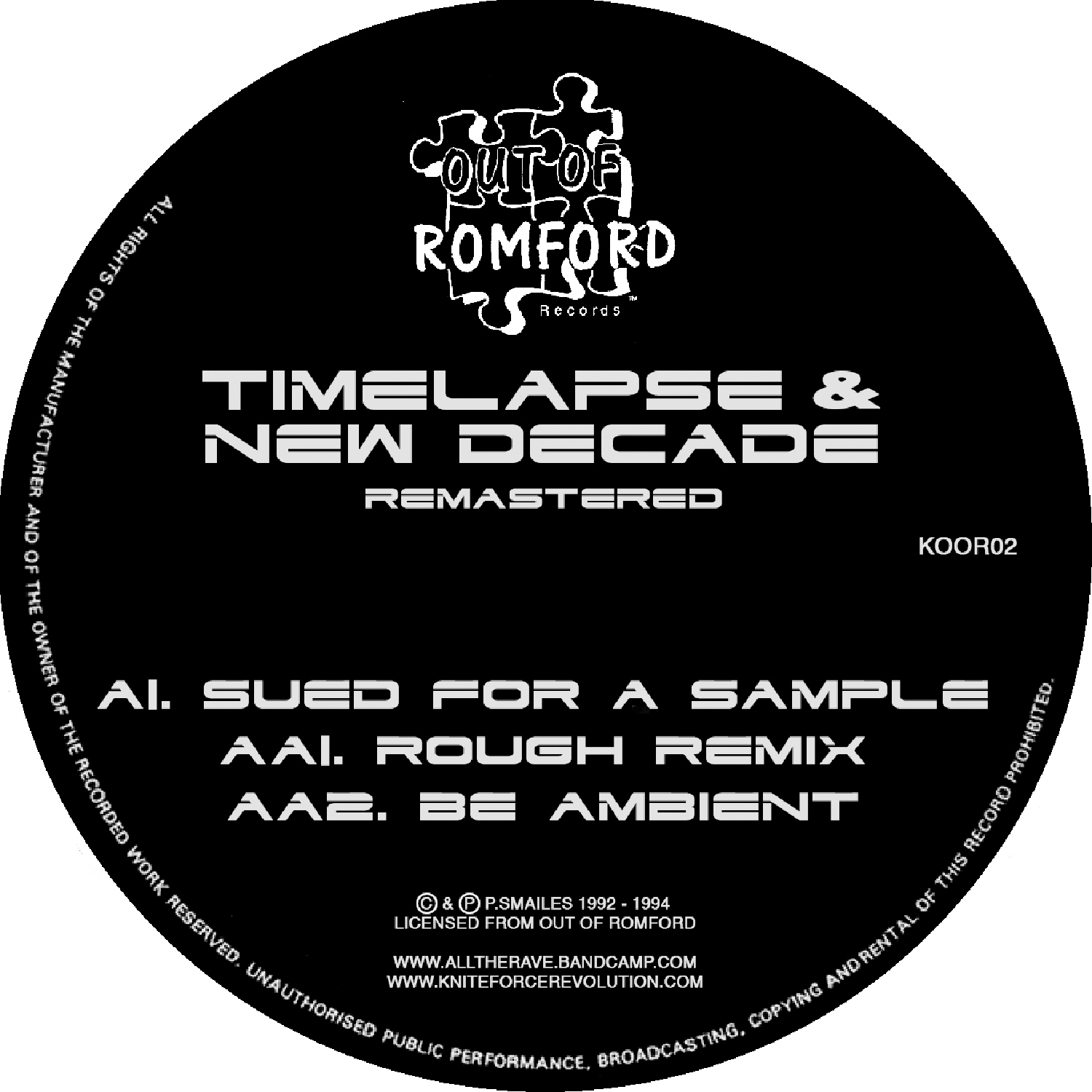 "[KOOR02] Timelapse & New Decade - Sued For A Sample EP (Remastered) (12"" Vinyl + Digital)"