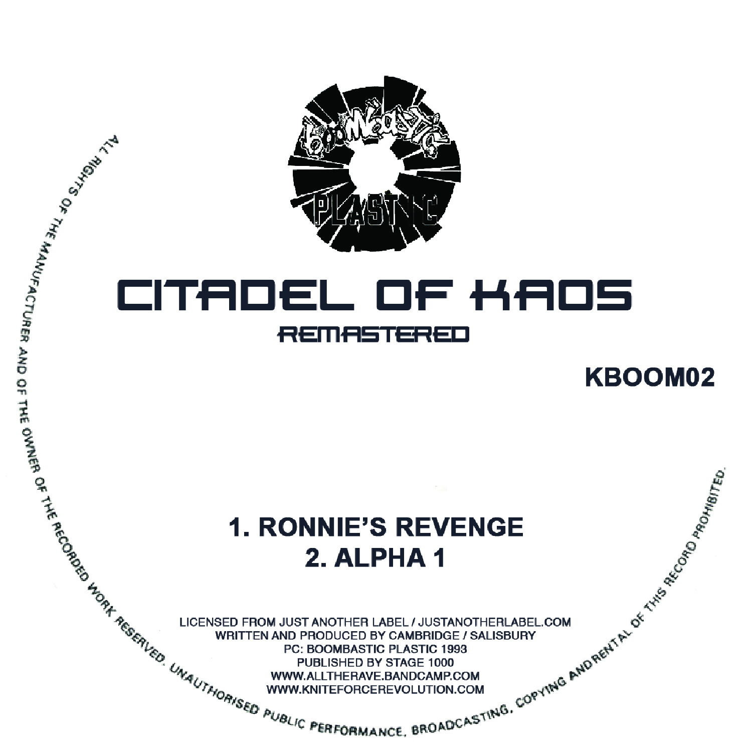 "[KBOOM02] Citadel Of Kaos - Ronnies Revenge / Alpha 1 (12"" Vinyl + Digital)"