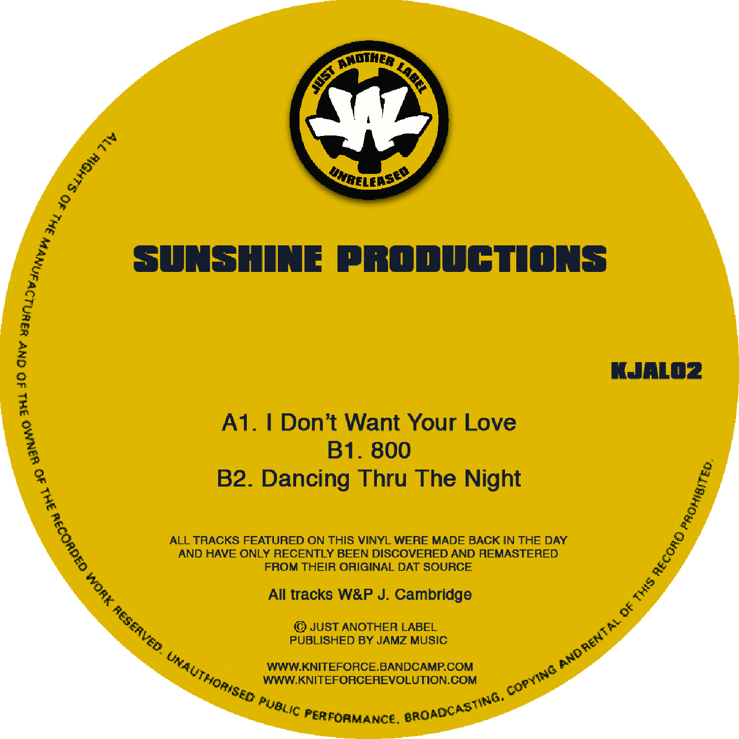 "[KJAL02] Sunshine Productions - I Dont Want Your Love EP (12"" Vinyl + Digital)"
