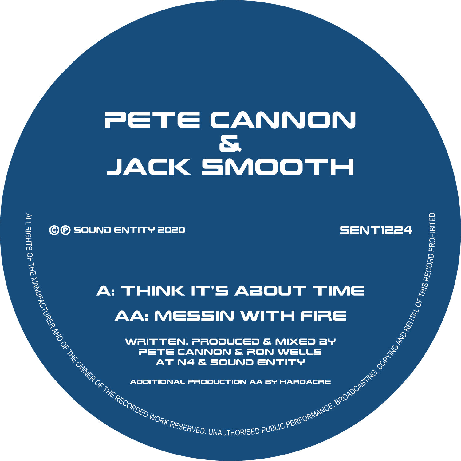 "[SENT1224] Pete Cannon & Jack Smooth - Think Its ABout Time EP (12"" Vinyl + Digital)"