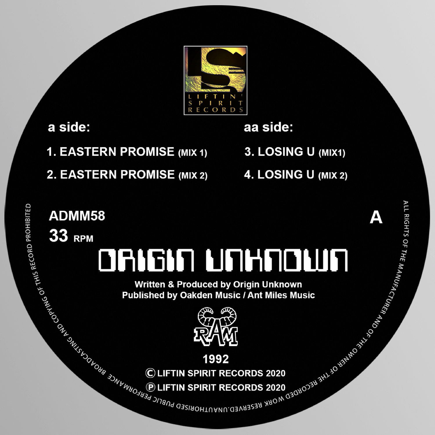 "[ADMM58] Origin Unknown - Eastern Promise EP (12"" Vinyl)"